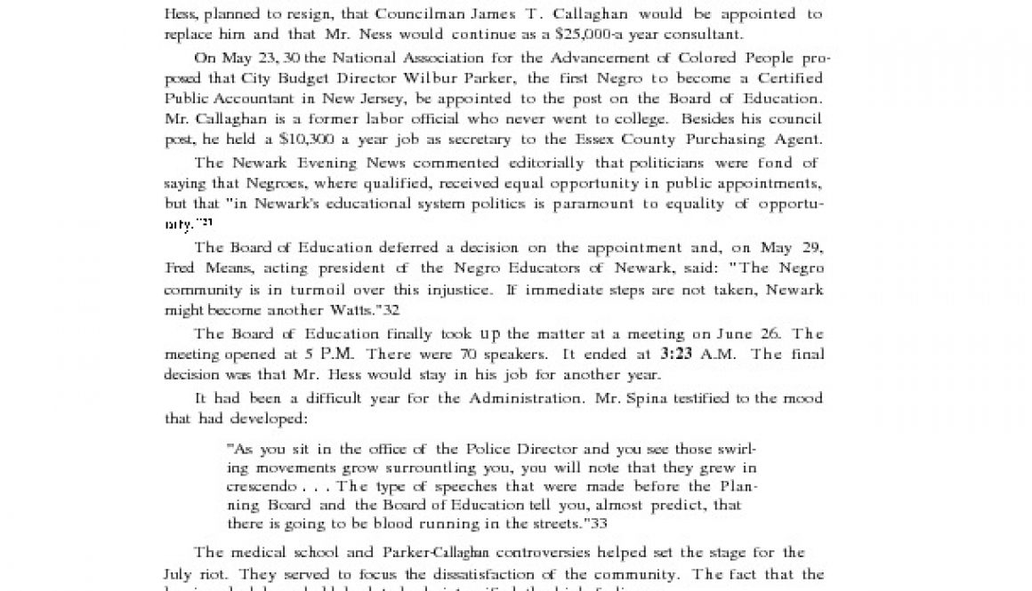 thumbnail of Excerpt on Parker-Callaghan from Report for Action- Governor's Select Commission on Civil Disorder, State of New Jersey, Feb 1968