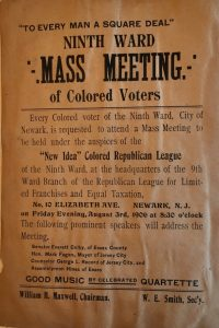 """Poster to advertise a mass meeting of the """"New Idea"""" Colored Republican League"""" of the Ninth Ward. This was just one of many African American political organizations in Newark in the early 1900s. -- Credit: NJ Historical Society"""