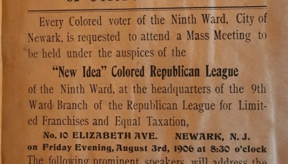 Flyer- Ninth Ward Mass Meeting of Colored Voters (1906)
