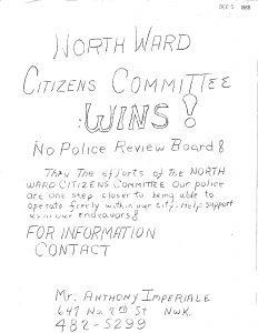 "Flyer distributed by the North Ward Citizens Committee celebrating the rejection of a police review board by city officials. This struggle over a police review board raged throughout the 1960s and was one of the most racially polarizing issues in Newark. Anythony Imperiale and his North Ward Citizens Committee advocated for ""law and order,"" by rallying for a police canine corps and against the review board."