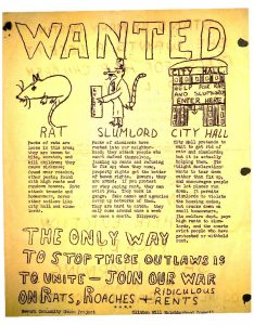 Flyer distributed by the Clinton Hill Neighborhood Council and the Newark Community Union Project (NCUP) announcing a demonstration to protest the eviction of Mary Martin in August of 1964. Ms. Martin refused to pay rent after her landlord repeatedly failed to take care of the rats, roaches, and crumbling conditions in her apartment. Unnscrupulous landlords, like Ms. Martin's, were slow to make repairs, but quick to evict tenants, who received little assistance from the city's housing authorities. -- Credit: Newark Public Library