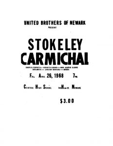 Flyer for an event hosted by the United Brothers on April 26, 1968, featuring international Black Power advocate Stokely Carmichael, Charles Kenyatta, Kenneth Gibson, and John Henrik Clarke.