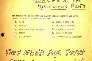thumbnail of Flyer- We Support Rent Strike Against Rats, Roaches, and Ridiculous Rents (CHNC Aug 15, 1964)
