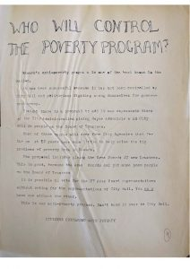 Flyer distributed to warn against City Hall control of the United Community Corporation and encourage community members to vote for representatives from their neighborhood to the UCC Board of Trustees. City officials in Newark feared that the antipoverty program would undermine their political power in the city and moved to exert control over the antipoverty agency. -- Credit: Newark Public Library