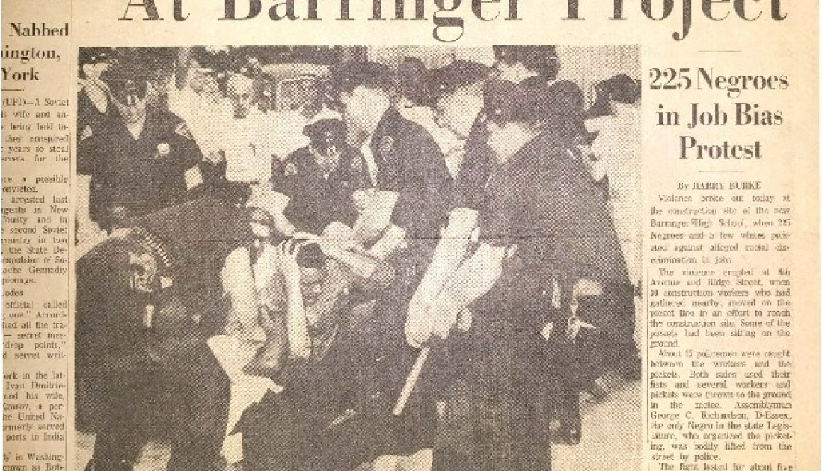 thumbnail of Front Page- Workers, Pickets Clash at Barringer Project (Newark Evening News July 3, 1963)-2