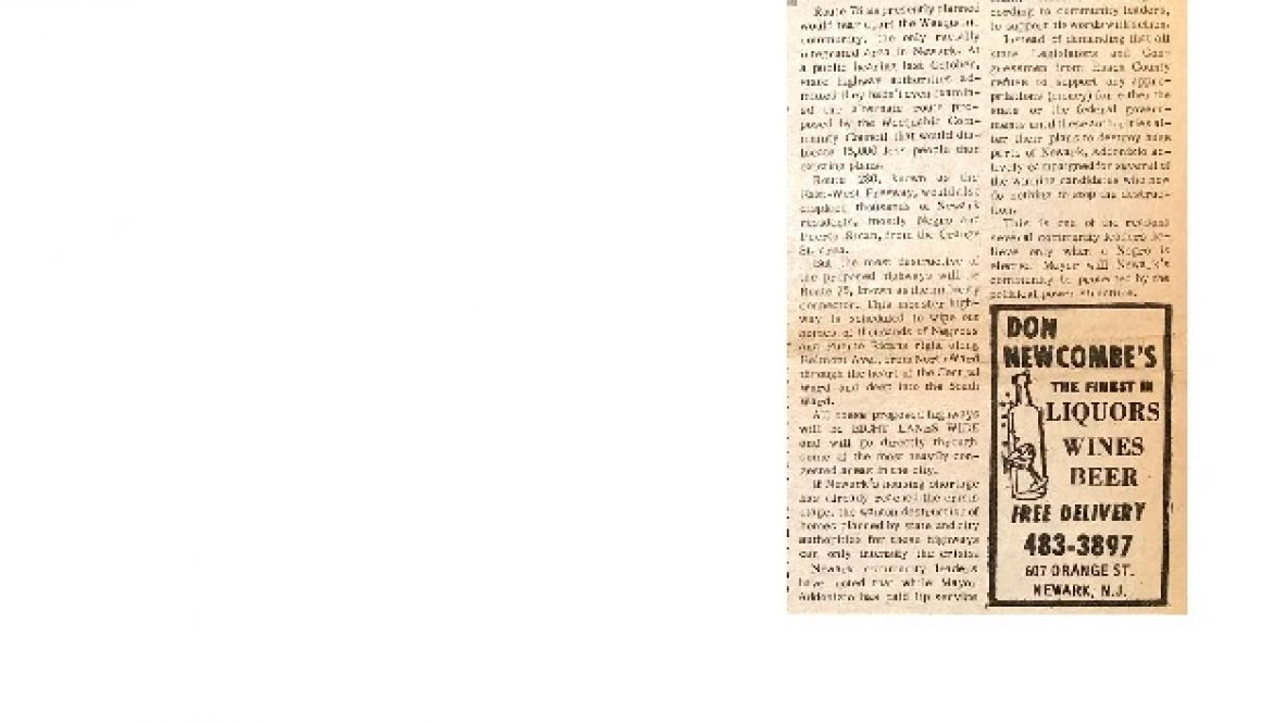 thumbnail of Highways May Destroy Newark Neighborhoods (Advance Newspaper Jan 6, 1966)