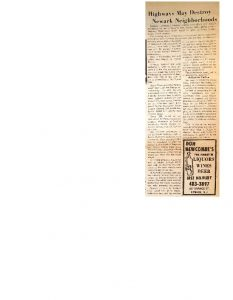 Article from the Advance, an African-American newspaper, covering the proposed construction of Routes 75, 78, and 280 through Newark. Highway construction in northern urban areas has historically involved the destruction of predominantly Black communities for the benefit of predominantly white suburban commuters. Route 75 was one of the most heavily-contested commuter highway proposals in Newark.