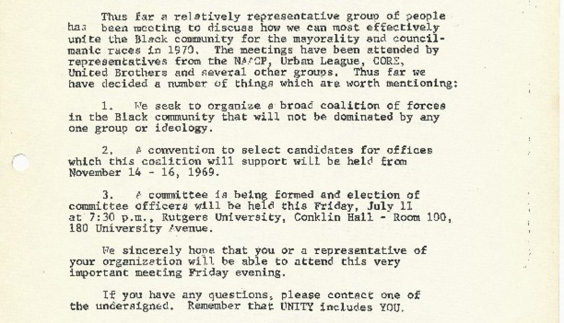 thumbnail of Invitation to Attend a Meeting of the Planning Committee for the Black and Puerto Rican Political Convention (July 7, 1969)