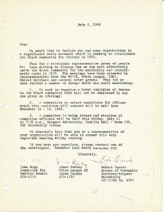 """Letter from John Bugg, James Pawley, and Robert Curvin, on behalf of the planning committee for the Black and Puerto Rican Convention.  The Convention's planning committee sought participation in the planning process from a variety of individuals and organizations in Newark. The Convention was organized to formally select the """"Community's Choice"""" for Mayor and City Council in the 1970 election."""