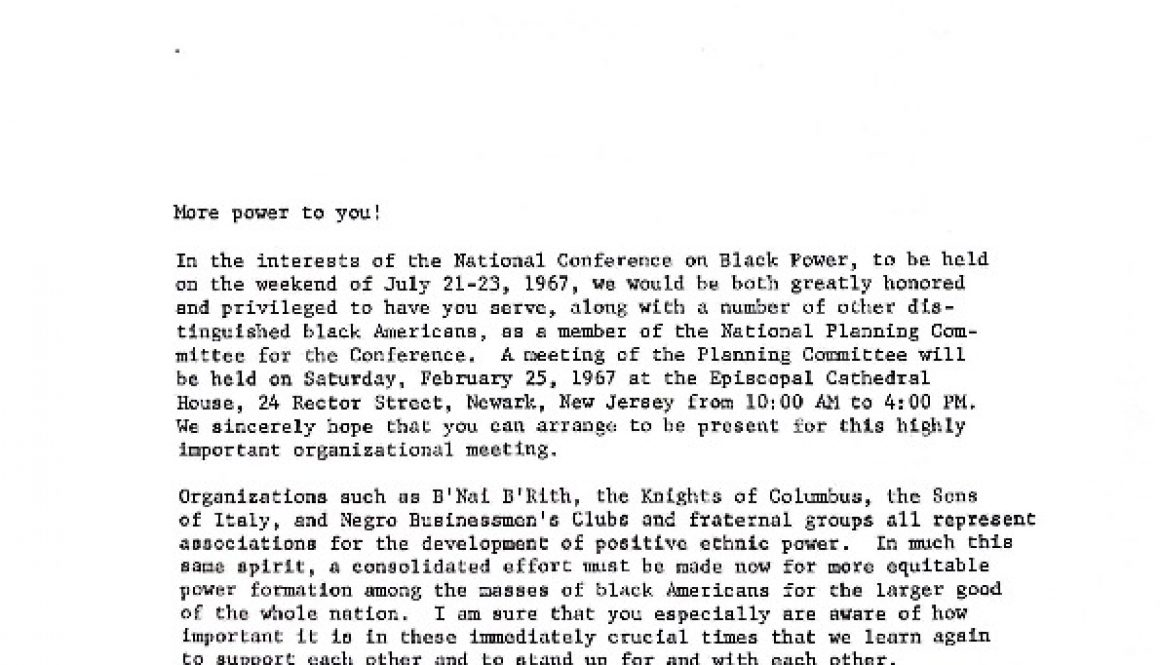 thumbnail of Invitation to Planning Committee for National Conference on Black Power (February 15, 1967)