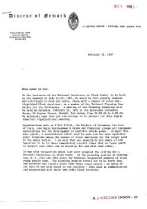 Letter of invitation from Dr. Nathan Wright to serve as a member of the National Planning Committee for the National Conference on Black Power, to be held in Newark from July 20-23, 1967. -- Credit: Newark Public Library