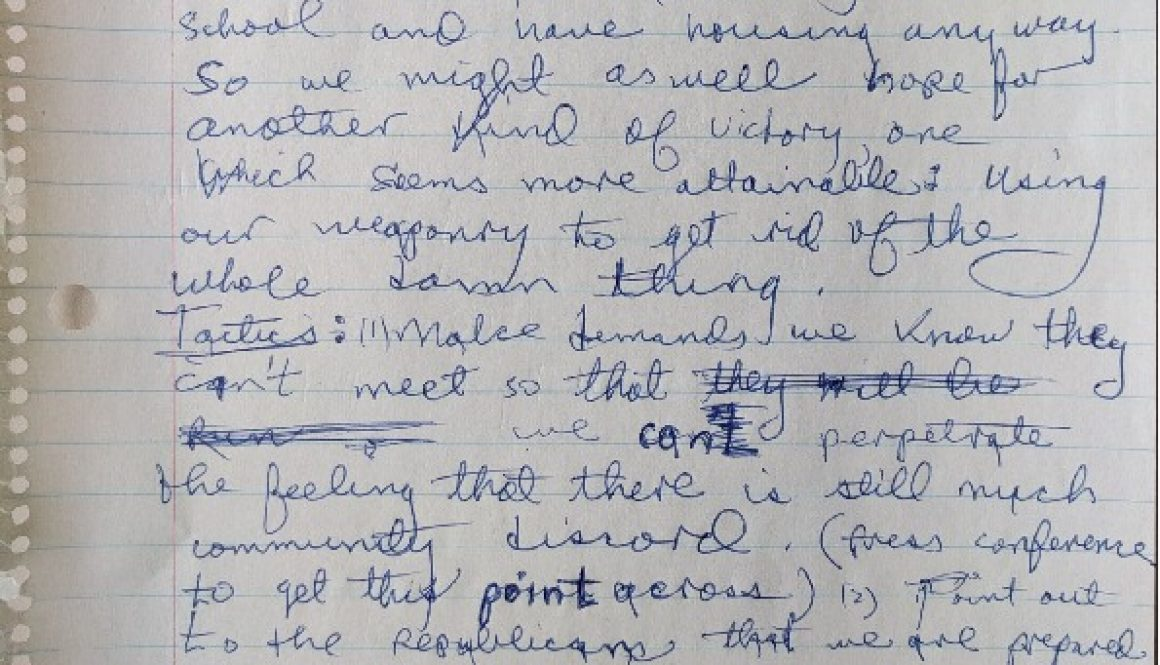 thumbnail of Junius Williams Notes on Goals and Tactics (Jan. 21, 1968)