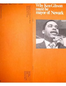 Brochure distributed by the Gibson Civic Association to promote Ken Gibson's 1970 Mayoral campaign in Newark. Gibson became the first Black mayor of a major northeastern city after defeating incumbent Mayor Hugh Addonizio in the election.