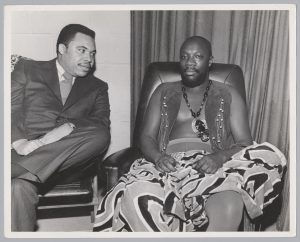 Ken Gibson poses for a photo with musician Isaac Hayes during his 1970 Mayoral campaign in Newark. The potential to elect the first Black mayor of a major northeastern city drew national attention to Newark and Amiri Baraka used his connections to bring celebrity supporters to the city for Gibson's campaign.