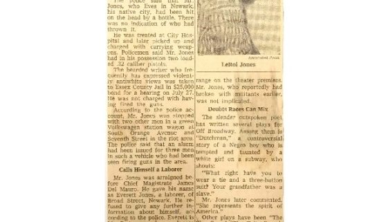 thumbnail of LeRoi Jones Seized in Newark After Suffering Head Wound (NY Times July 14, 1967)