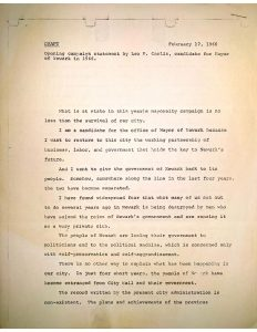 Draft of former mayor Leo Carlin's opening statement for his 1966 mayoral campaign against the incumbent, Hugh Addonizio, and political newcomer, Ken Gibson. Carlin attempted to run again in 1966 after being defeated by Addonizio in the 1962 election. -- Credit: Newark Public Library