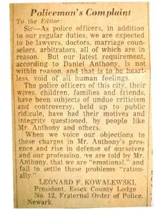 """Letter to the Editor of the Newark Evening News on March 27, 1963 from Essex County Fraternal Order of Police president, Leonard Kowalewski, regarding the controversy over a proposed police advisory board. Following an influx of allegations of police misconduct and brutality in early 1963, African American community leaders advocated for the establishment of a """"review board"""" or """"advisory board"""" to investigate allegations of police misconduct. The struggle over a police advisory board continued through the 1960s and was a polarizing topic along racial lines in Newark. -- Credit: Newark Public Library"""