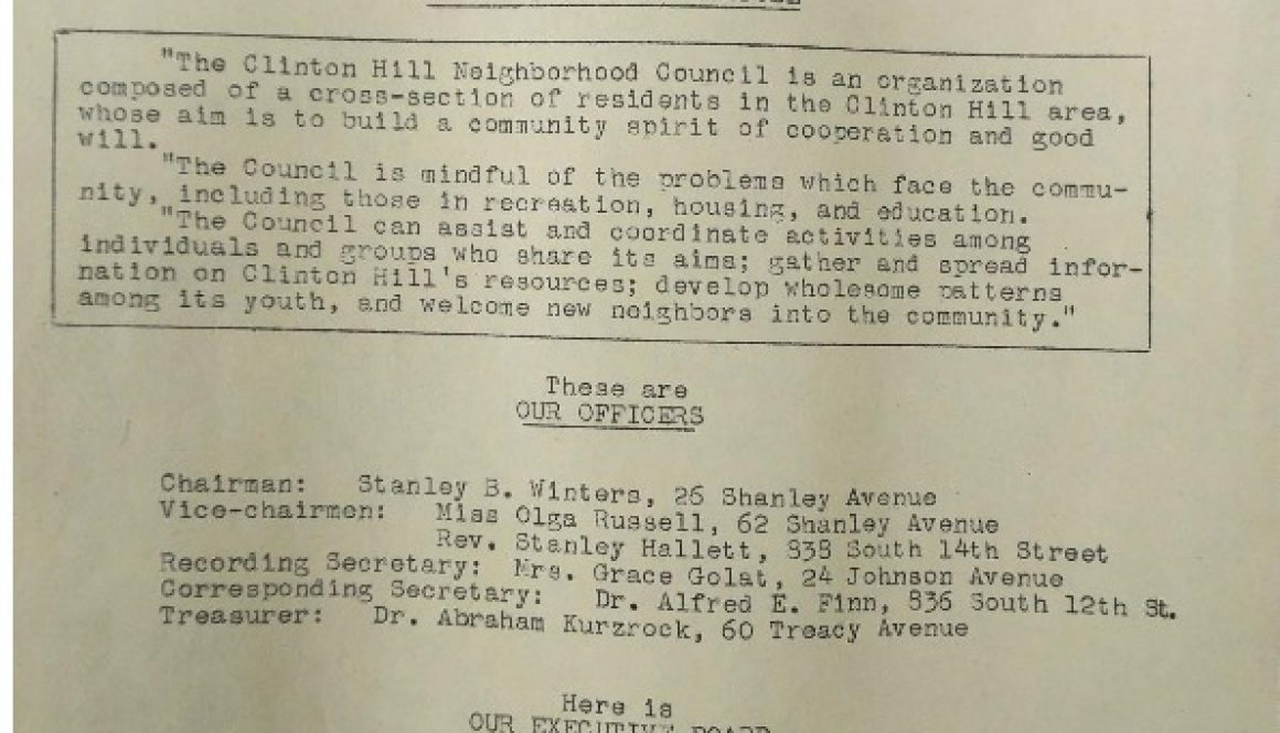 thumbnail of Letter Announcing the Formation of the Clinton Hill Neighborhood Council
