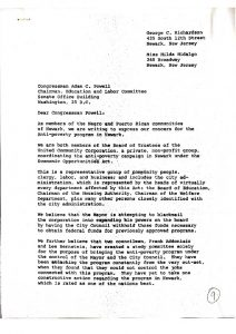 """Letter from United Community Corporation (UCC) members George Richardson and Hilda Hidalgo, to Congressman Adam Clayton Powell, Jr., seeking assistance in response to the City Council Committee's investigation of the UCC in 1965. Many Black and Puerto Rican ommunity members, like Richardson and Hidalgo, argued that the Committee's investigation was an attempt to """"bring the anti-poverty program under the control of the Mayor and the City Council."""" -- Credit: Newark Public Library"""