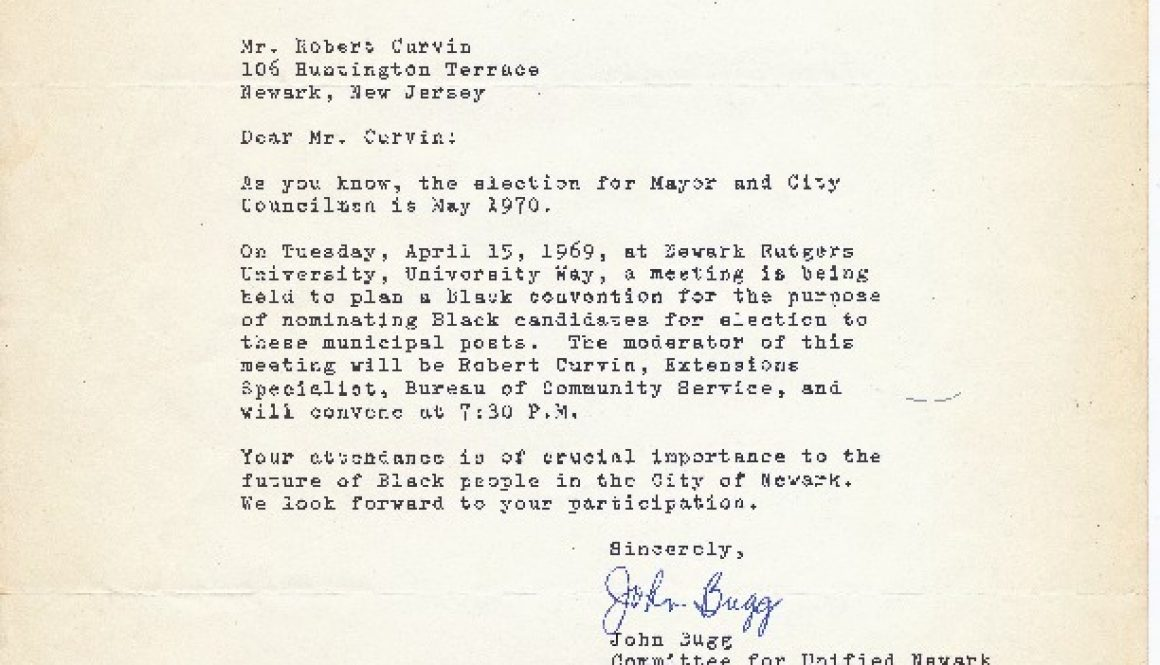 thumbnail of Letter from John Bugg to Robert Curvin (April 3, 1969)