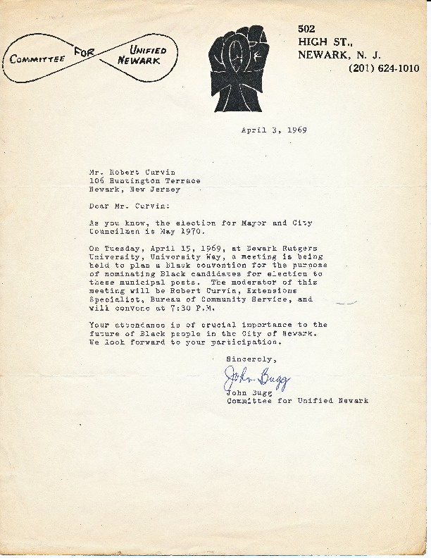 Letter from John Bugg to Robert Curvin