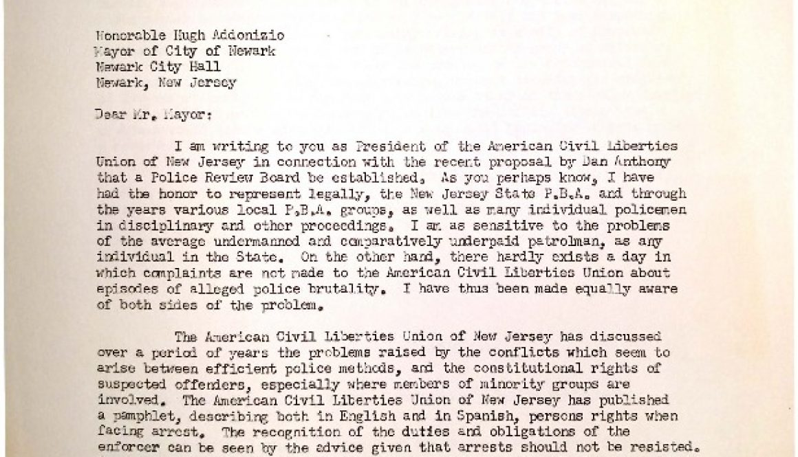 thumbnail of Letter from NJ ACLU to Addonizio- Police Review Board (March 6, 1963)