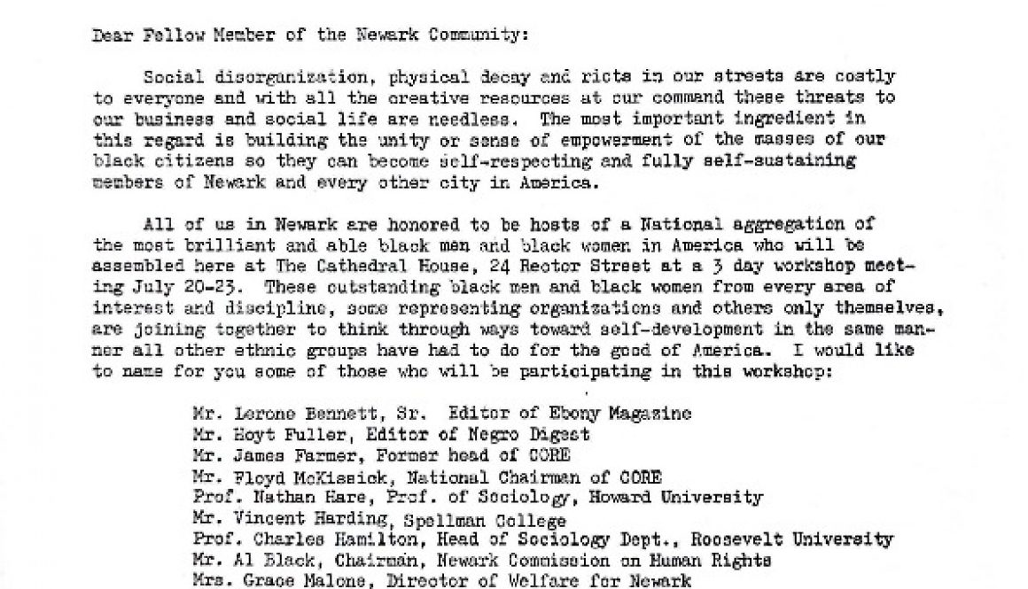 thumbnail of Letter from Ulysses Blakely June 26, 1967- Seeking Contributions to Welcoming Journal