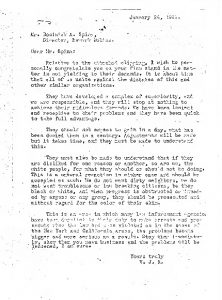 """Letter received by Newark Police Director Dominick Spina, congratulating him on his """"firm stand"""" against civil rights organizations in Newark. The author of the letter states that African Americans had """"developed a complex of superiority...and they will stop at nothing to achieve their ridiculous demands."""""""