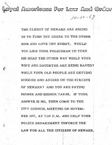 """Flyer distributed by the organization Loyal Americans for Law and Order (LALO), calling for residents to attend a City Council meeting on November 1, 1967 """"and help your police department enforce the law for all the citizens of Newark."""" LALO was formed immediately after the 1967 Newark rebellion in response to what the organization saw as """"Godless...philosophies subverting the negro communities where is found waste, ignorance and lawlessness."""""""
