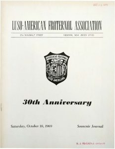 Cover page from the 30th Anniversary journal of Newark's Luso-American Fraternal Association in 1969. Newark's Portuguese residents are very committed to their clubs, social organizations, and churches in the East Ward. -- Credit: Newark Public Library