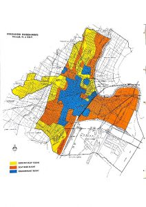"This map of ""Generalized Environments"" in Newark depicts the conditions of buildings in the city in the 1960s. Predominantly white, middle-to-upper class neighborhoods such as Vailsburg, Weequahic, and Forest Hill are seen to be ""substantially sound,"" while predominantly black, poor and working class neighborhoods in the Central Ward are classified as ""predominantly blight.""  -- Credit: Newark Public Library"