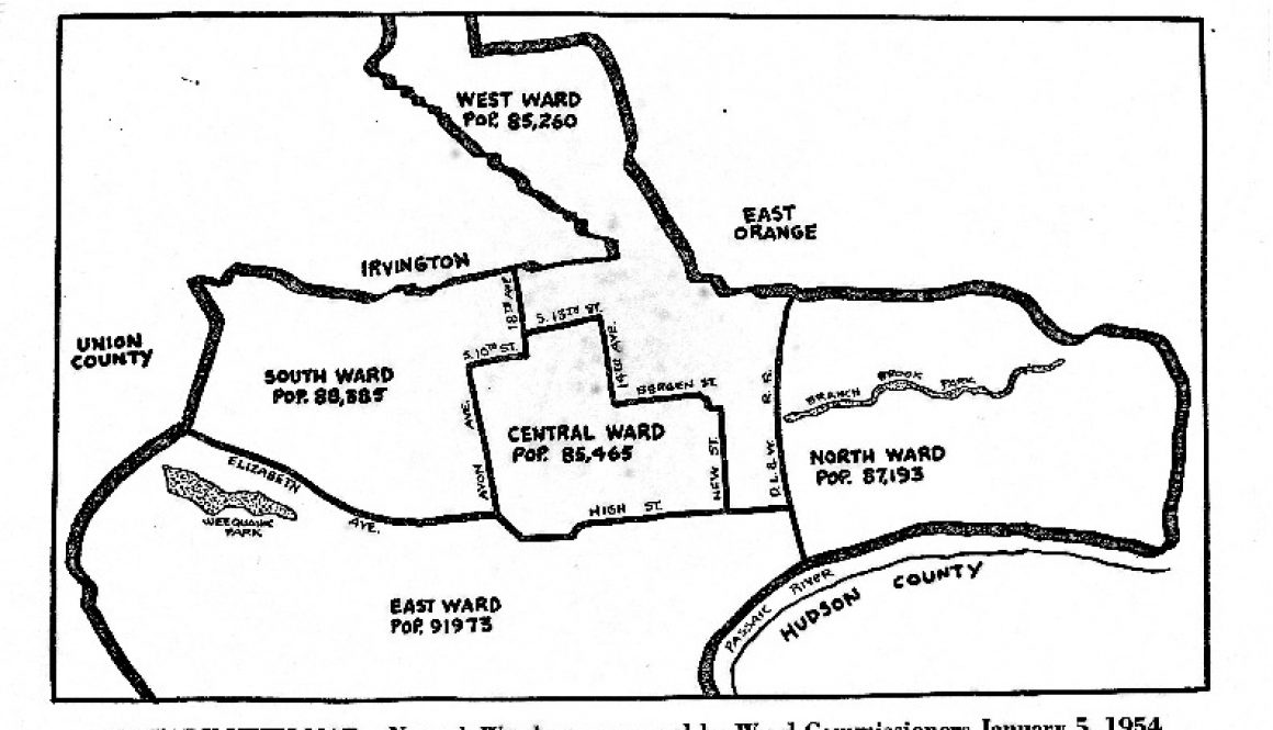 thumbnail of Map of Newark Wards (1954)