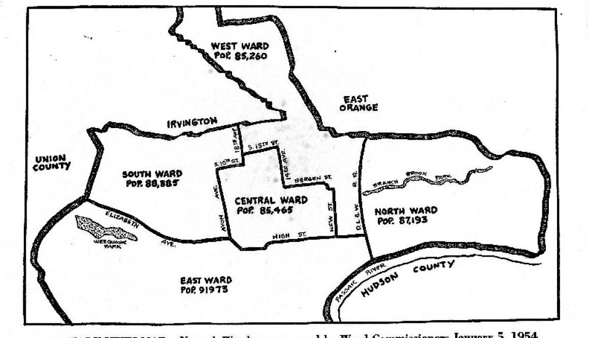 thumbnail of Map of Newark Wards (1954)