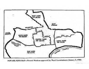 Map of Newark Wards as approved by Ward Commissioners on January 5, 1954. The original ward lines were re-drawn after African American leaders, including Tim Still and Larry Coggins, protested the boundaries that made Black voters a minority in the Central Ward and fought to have the ward lines changed. -- Credit: Newark Public Library