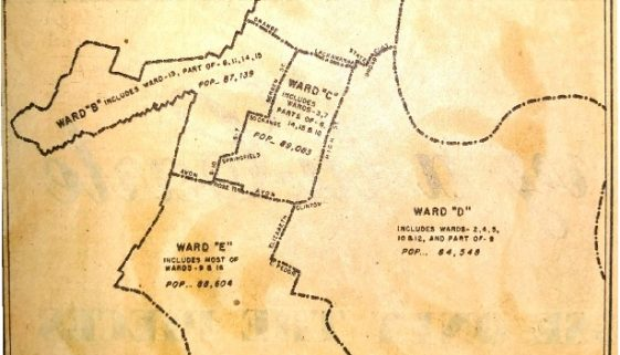 thumbnail of Map of Possible Ward Lines, Newark Charter Commission (Newark Sunday News, August 2, 1953)