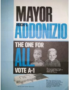 Brochure distributed by Citizens for Hugh J. Addonizio to promote Mayor Addonizio's 1970 campaign for re-election. Addonizio was defeated by Ken Gibson in the runoff election, making Gibson the first Black mayor of a major northeastern city.