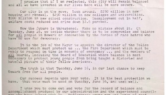 thumbnail of Mayor Addonizio Campaign Letter (June, 1970)