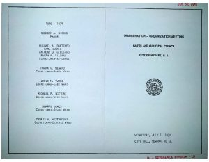 Program from the 1970 inauguration of Newark's Mayor and Municipal Council. Ken Gibson was inaugurated on July 1, 1970, becoming the first Black mayor of a major northeastern city after defeating incumbent Mayor Hugh Addonizio in the election. Also elected to the City Council were Earl Harris, Sharpe James, and Dennis Westbrooks-- all nominees of the Black and Puerto Rican Convention.