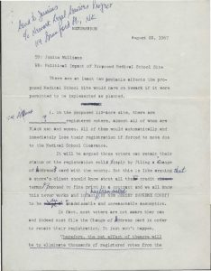 Memo from civil rights activist Derek Winans to Junius Williams regarding the political impacts of the proposed site of the College of Medicine and Dentistry in Newark's Central Ward. The displacement of residents and consequential disruption of African American electoral voting strength was a major concern of Newark's civil rights activists in the 1960s. -- Credit: Junius Williams Collection