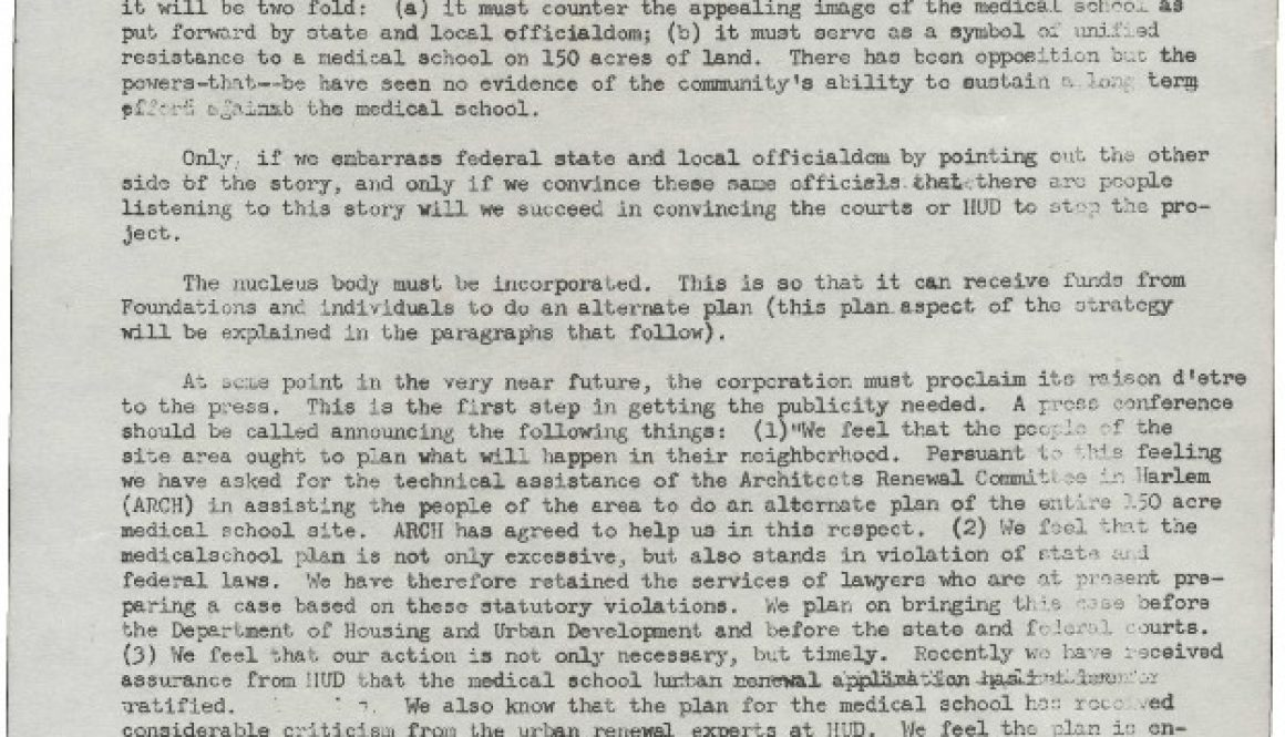 thumbnail of Memo from Junius Williams- Contemplated Strategies for the Medical School Fight (Sept. 6, 1967)-ilovepdf-compressed