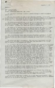 Memo from Junius Williams, head of the Newark Area Planning Association (NAPA), to outline a possible strategy for combating the College of Medicine and Dentistry. NAPA led the charge to develop an alternate plan for the College of Medicine and Dentistry that would have originally displaced approximately 20,000 Black and Puerto Rican residents of the Central Ward. -- Credit: Junius Williams Collection