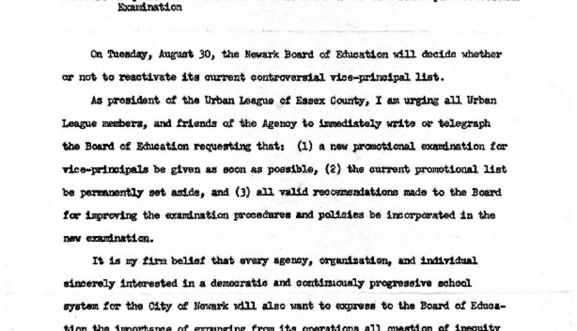 thumbnail of Memo from Urban League to Newark Agencies- Request to Board of Ed for New Vice Principal Promotion Exam (August)