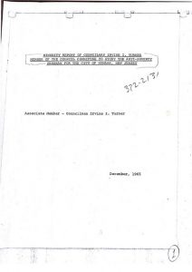"""Minority report of Councilman Irvine Turner on the City Council Committee's investigation of the United Community Corporation (UCC) in 1965. Turner disassociated himself from the Committee's report on the ground that he disagreed with many of the assumptions and recommendations of the report. In his report, Turner refutes the claim that 'the UCC has taken many of the aspects of a political-action pressure group,"""" citing the policy of the Board of Trustees that required any member of the UCC running for political office to take a leave of absence during the candidacy. -- Credit: Newark Public Library"""