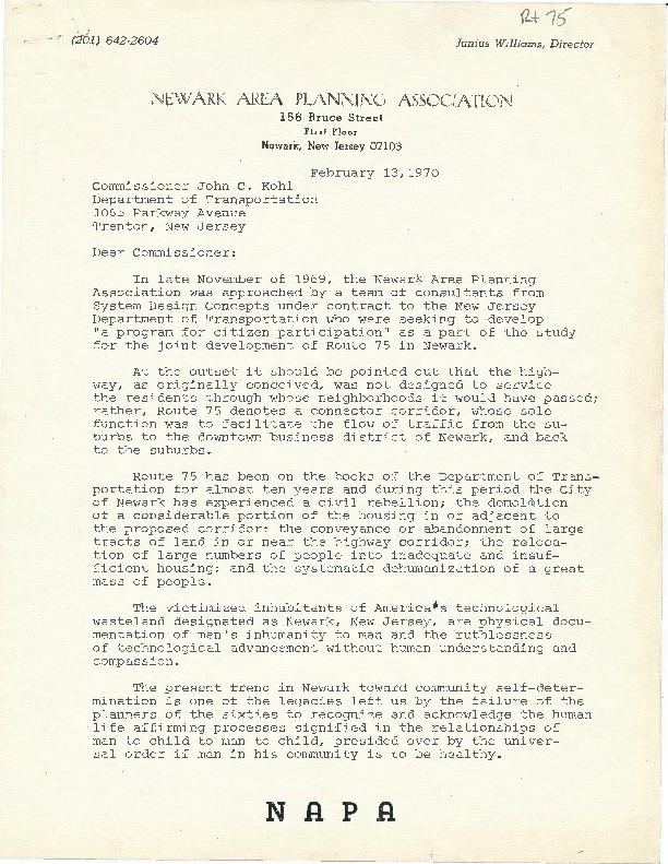 NAPA Letter to DOT Commissioner