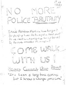 Flyer distributed by the Newark Community Union Project (NCUP) announcing a rally to protest the killing of Lester Long by Newark policeman Henry Martinez. The shooting of Lester Long was one of the most well-known and contentious cases of alleged police brutality in Newark during the 1960s and reinvigorated community demands for a police review board. -- Credit: NJ State Archives