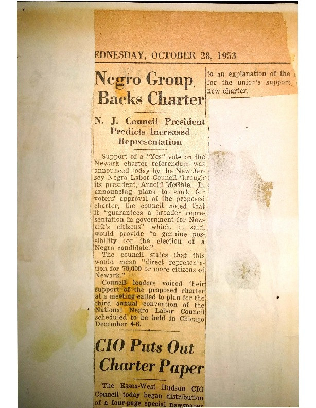 Negro Group Backs Charter