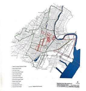 Map of proposed urban renewal projects in Newark from the city's 1964 Master Plan prepared by the Central Planning Board. Nearly all of the urban renewal projects were to be located in the Central Ward, where the majority of the city's black and Puerto Rican communities lived and worked. Though these communities were to be deeply impacted by urban renewal projects, they had very little representation in the planning processes.