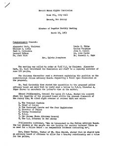 """Minutes from a March 19, 1963 meeting of the Newark Human Rights Commission. During this meeting, the Commission heard statements from a variety of community members on the topic of a police advisory board. Following an influx of allegations of police misconduct and brutality in early 1963, African American community leaders advocated for the establishment of a """"review board"""" or """"advisory board"""" to handle allegations of police misconduct. -- Credit: Newark Public Library"""