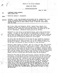 "Memo from the Newark Police Department regarding attempts to ""organize white citizens against Negroes in the city."" The organization, known as Loyal Americans for Law and Order (LALO), was formed during the 1967 Newark rebellion by a man named Don Gottwerth. The organization supported the police, most notably in the campaign for a police canine corps immediately after the rebellion."