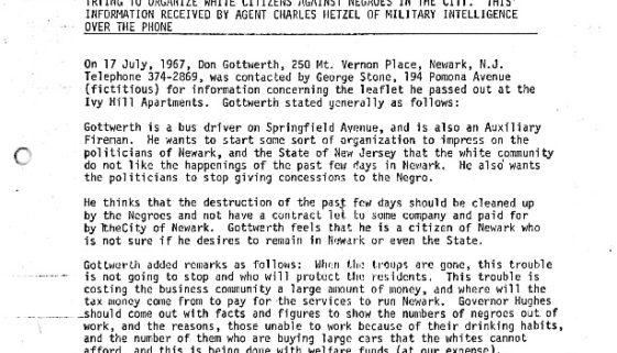 thumbnail of Newark Police Department Memo (July 17, 1967)